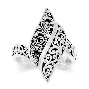 Lois Hill Sterling Silver Scroll Tapered Ring - 7